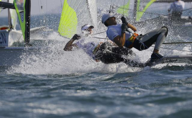 2016 Rio Olympics - Sailing - Preliminary - Men's Skiff - 49er - Race 7/8/9 - Marina de Gloria - Rio de Janeiro, Brazil - 15/08/2016. Ruggero Tita (ITA) of Italy and Pietro Zucchetti (ITA) of Italy compete. REUTERS/Brian Snyder FOR EDITORIAL USE ONLY. NOT FOR SALE FOR MARKETING OR ADVERTISING CAMPAIGNS.