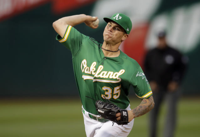 Oakland Athletics pitcher Aaron Brooks works against the Toronto Blue Jays in the first inning of a baseball game Friday, April 19, 2019, in Oakland, Calif. (AP Photo/Ben Margot)