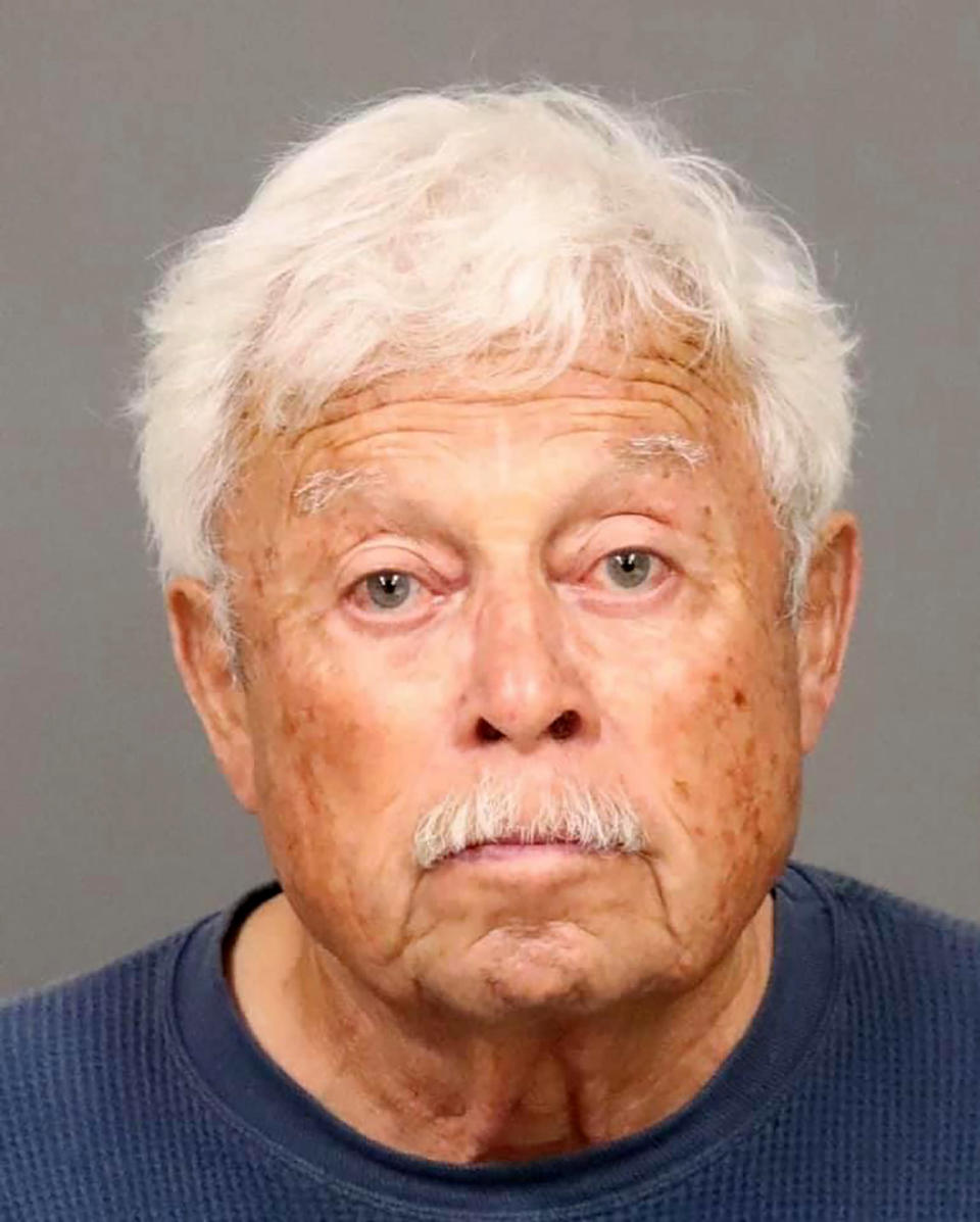 This photo provided by the San Luis Obispo County Sheriff's Office shows Ruben Flores, 80, who was arrested in connection to the murder of college student Kristin Smart at his Arroyo Grande home on Tuesday, April 12, 2021. San Luis Obispo County Sheriff Ian Parkinson said the arrest warrants for Ruben Flores and his son Paul Flores were issued after a search of the elder Flores' home last month using ground-penetrating radar and cadaver dogs. He said evidence was found linked to the killing of Smart but they had not yet located her body. (San Luis Obispo County Sheriff's Office via AP)