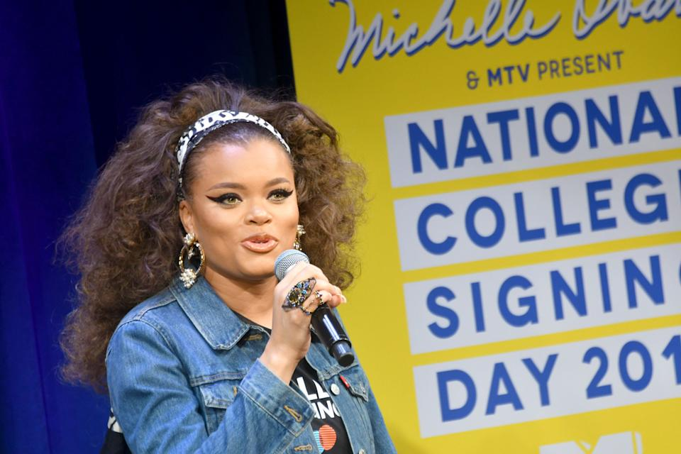 NEW YORK, NY - MAY 05:  Singer Andra Day speaks onstage during MTV's 2017 College Signing Day With Michelle Obama at The Public Theater on May 5, 2017 in New York City.  (Photo by Mike Coppola/Getty Images for MTV)