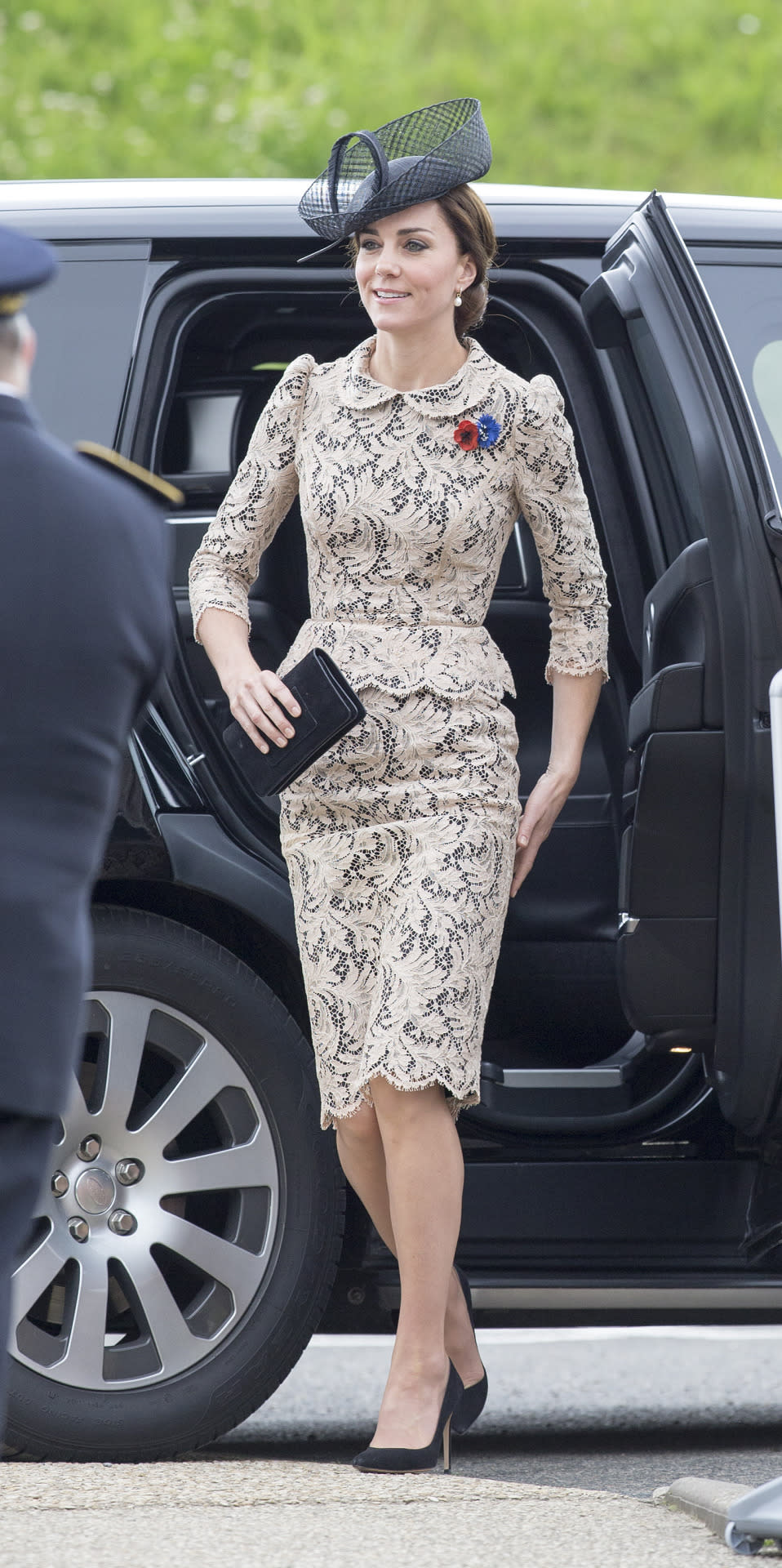 <p>A nude lace dress was Kate's outfit of choice for the 100th anniversary service of the Battle of the Somme. Made by Sophie Hallette (the same firm that created the lace used for Kate's wedding dress), the look was finished with a simple black hat and Mulberry clutch.</p><p><i>[Photo: PA]</i></p>