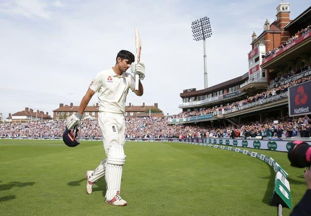 Sir Alastair Cook acknowledges the crowd after his final Test innings