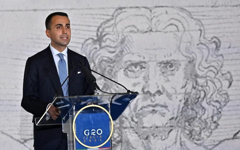 Italian Foreign minister Luigi di Maio speaks at a press conference in Ribola museum in Matera