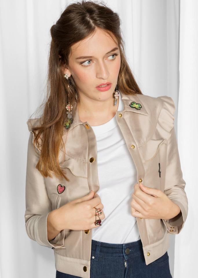"""& Other Stories Patched Frill Jacket, $125; at & <a rel=""""nofollow"""" href=""""http://www.stories.com/us/Ready-to-wear/Jackets_Coats/Patched_Frill_Jacket/582949-104832869.1"""" rel="""""""">Other Stories</a>"""
