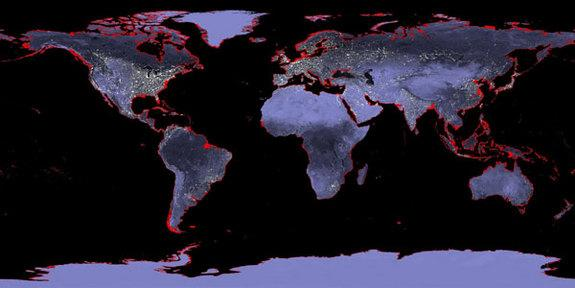 Earth with a sea level rise of 6 meters (20 feet). Imagine a possible future rise of nearly 70 feet.