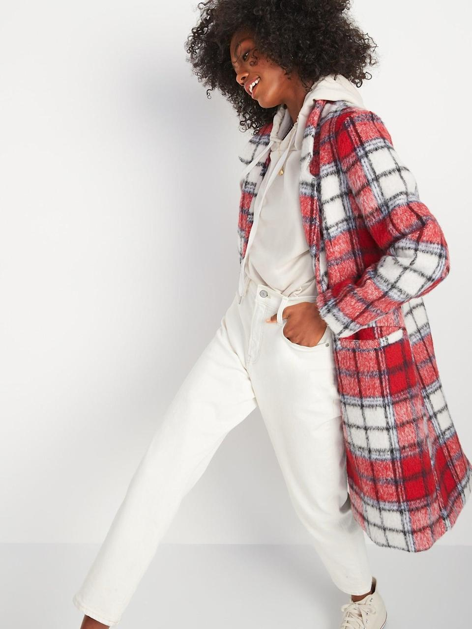 <p>Get ready to bundle up underneath this ultracozy <span>Oversized Soft-Brushed Plaid Overcoat </span> ($78, originally $80).</p>