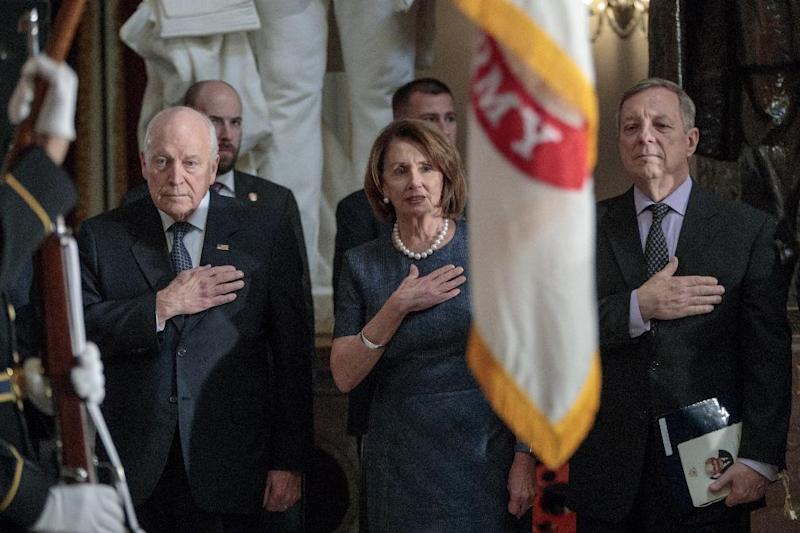 From left, former Vice President Dick Cheney, House Minority Leader Nancy Pelosi of Calif., and Senate Minority Whip Durbin of Ill., stand during a memorial service in Statuary Hall on Capitol Hill in Washington, Thursday, March 9, 2017, honoring former Illinois Rep. Bob Michel. Michel, who represented Illinois' 18th Congressional District and served as House minority leader from 1981 to 1995, died on February 17, 2017 (AP Photo/J. Scott Applewhite)