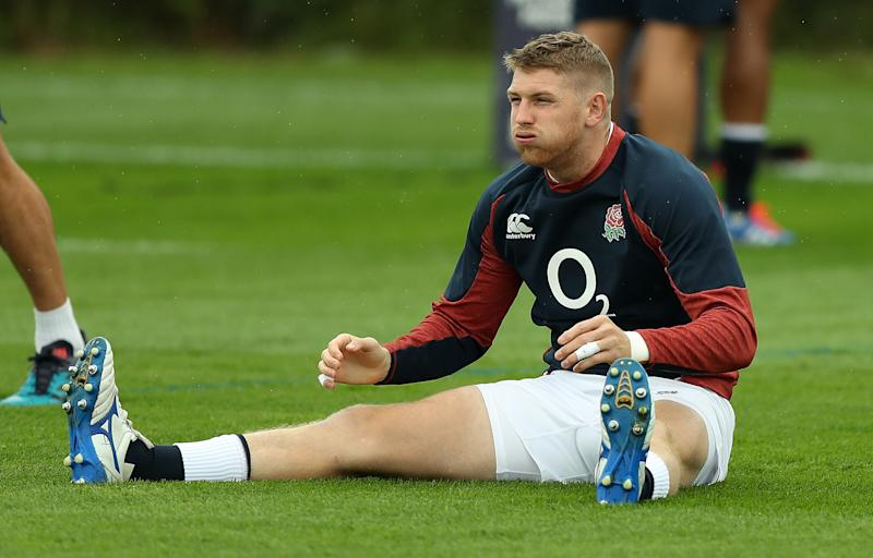 BRISTOL, ENGLAND - AUGUST 16: Ruaridh McConnochie stretches during the England captain's run held at Clifton College on August 16, 2019 in Bristol, England. (Photo by David Rogers/Getty Images)