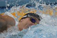 Robert Finke of the United States swims in the men's 800-meters freestyle final at the 2020 Summer Olympics, Thursday, July 29, 2021, in Tokyo, Japan. (AP Photo/Matthias Schrader)