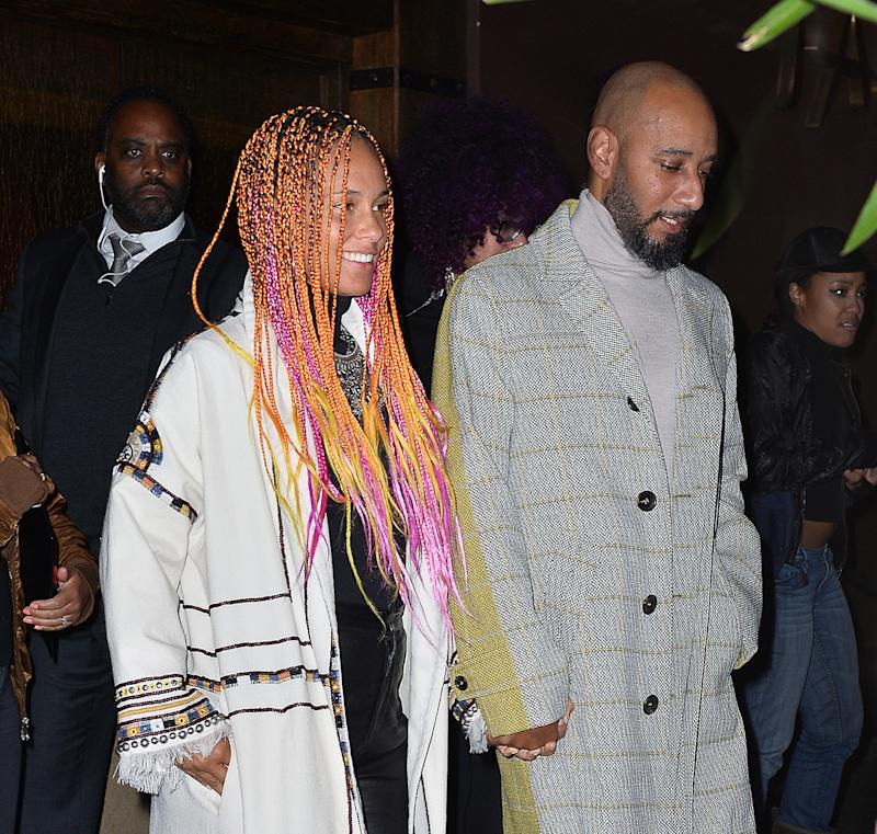 "Alicia Keys and Swizz Beatz at the ""SNL"" Season 43 after-party at Tao in New York City.  (Splash News)"
