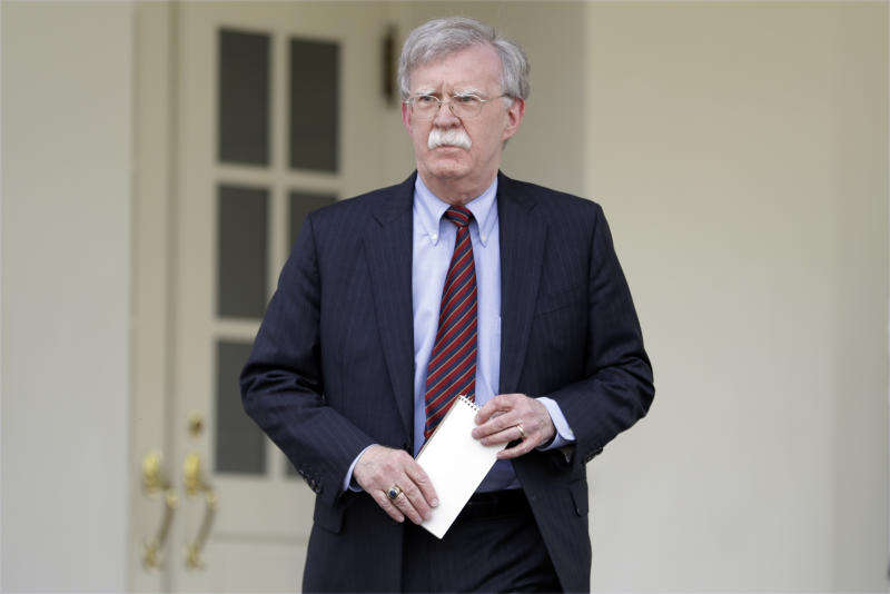 National security adviser John Bolton outside the West Wing of the White House in 2019, in Washington. (Evan Vucci/AP)
