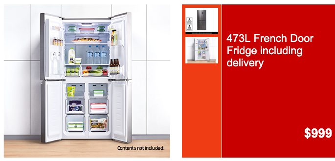 Online catalogue advertisement for the Aldi French door refrigerator.