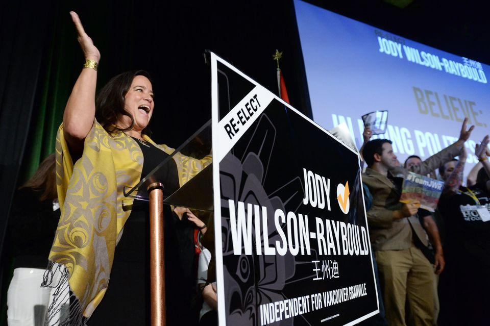 Independent candidate Jody Wilson-Raybould arrives at her federal election campaign event in Vancouver on Wednesday, Sept. 18, 2019.