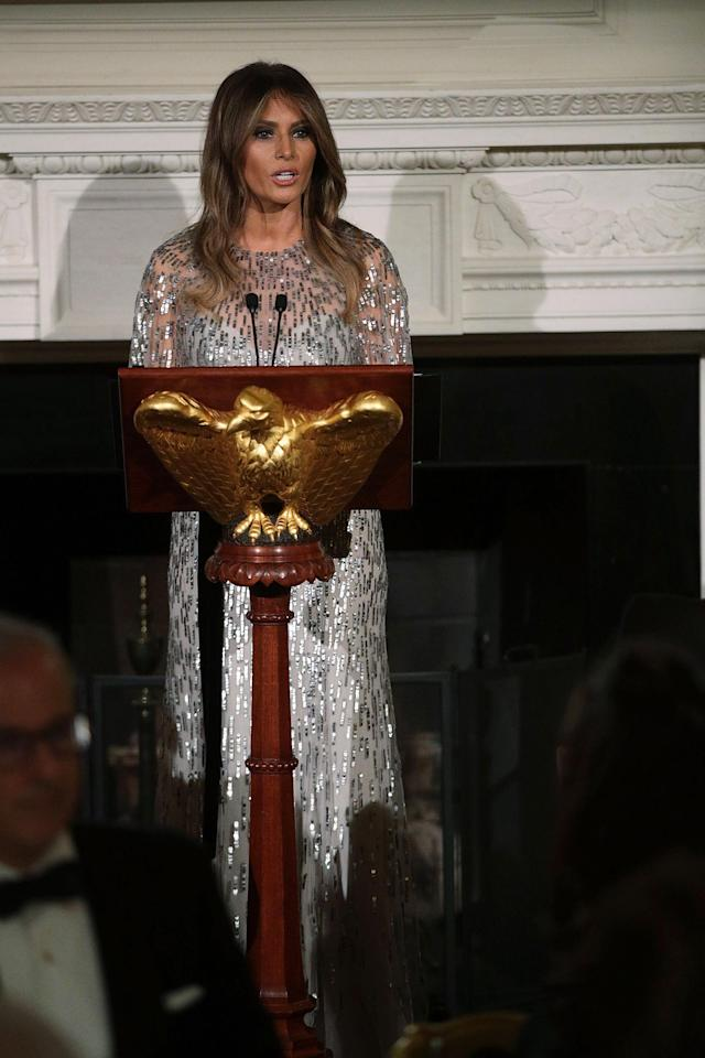 Melania Trump gives a speech at the dinner honoring the White House Historical Association. (Photo: Alex Wong/Getty Images)