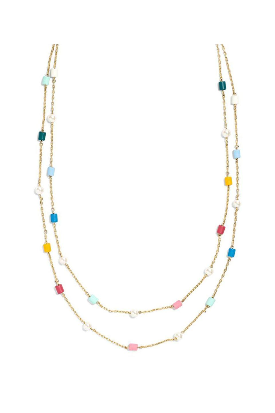 """<p><strong>Madewell</strong></p><p>nordstrom.com</p><p><strong>$38.00</strong></p><p><a href=""""https://shop.nordstrom.com/s/madewell-beaded-imitation-pearl-layered-necklace/5236193"""" rel=""""nofollow noopener"""" target=""""_blank"""" data-ylk=""""slk:SHOP IT"""" class=""""link rapid-noclick-resp"""">SHOP IT</a></p><p>Madewell is beloved for its amazing jeans and basics, but I especially love their jewelry, which can be seriously underrated. Case and point: this necklace. The two-strand design gives you the layered look in an instant and the multicolored beading will make it super easy to pair with the other necklaces and chokers already in your collection.<br></p>"""
