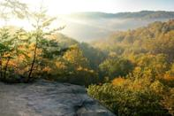 """<p>The <a href=""""https://www.explorehockinghills.com/"""" rel=""""nofollow noopener"""" target=""""_blank"""" data-ylk=""""slk:Hocking Hills State Park"""" class=""""link rapid-noclick-resp"""">Hocking Hills State Park</a> is known as the Crown Jewel of Ohio and this byway takes you through the park for a gorgeous road trip with plenty of stunning natural sights. The best time to go is in the fall when all the leaves become fiery oranges and reds.</p>"""