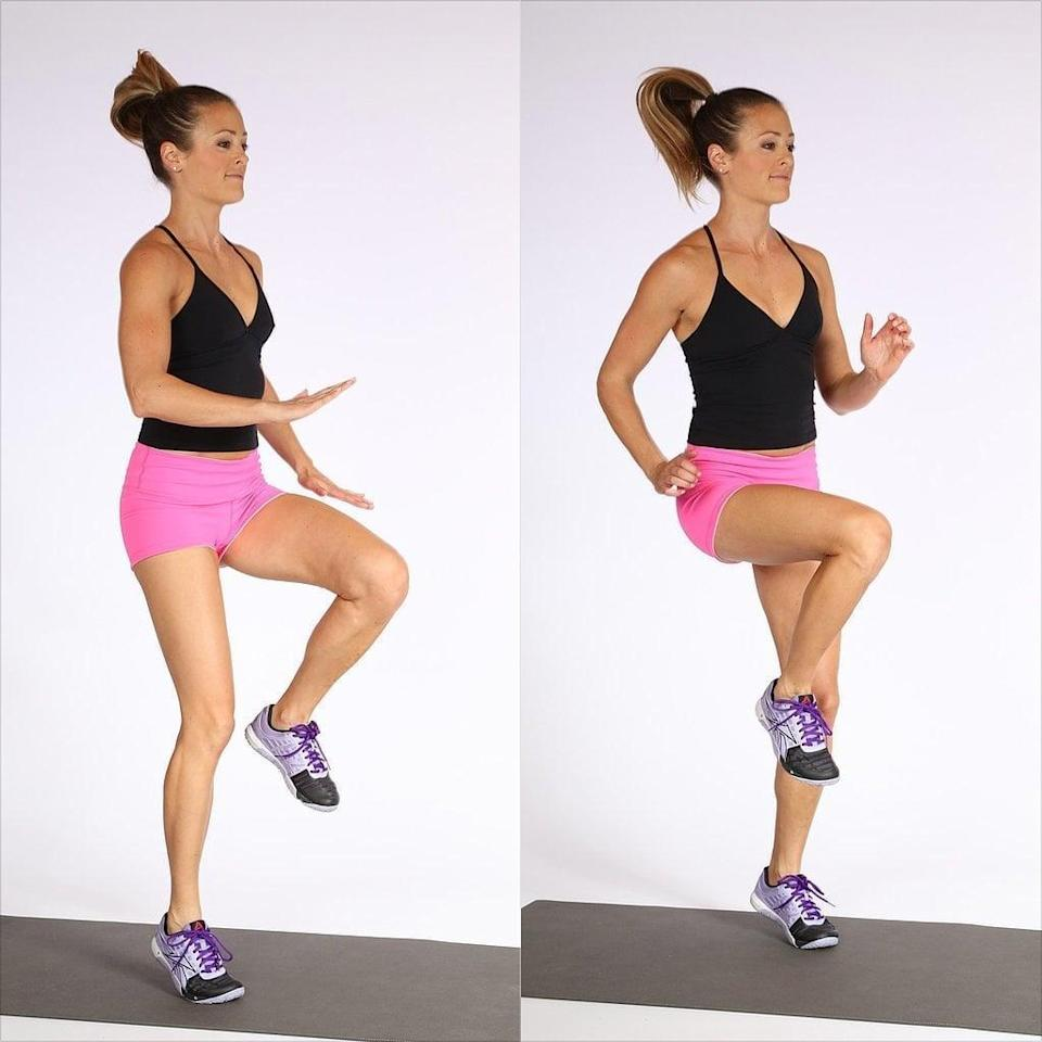 """<p>""""High knees are best for cardio,"""" said Casey Cohen, NASM-certified personal trainer for <a href=""""https://berevolutionarie.com/"""" class=""""link rapid-noclick-resp"""" rel=""""nofollow noopener"""" target=""""_blank"""" data-ylk=""""slk:beRevolutionarie"""">beRevolutionarie</a>. This classic move is all about getting your heart pumping and burning calories fast. For a lower-impact workout that also challenges your balance, Cohen recommended taking out the running motion and just lifting and holding one knee at a time.</p> <ul> <li>Stand up straight and place your feet about hip-width apart.</li> <li>Place your hands palms down facing the floor, hovering just above your belly button.</li> <li>Quickly drive your right knee up to meet your right hand, keeping your core tight.</li> <li>In a running motion, bring your right leg back to the ground while simultaneously lifting the left knee to meet your left hand. </li> <li>Continue alternating knees in a running motion, staying on the balls of your feet the entire time. Make sure you are engaging your abdominal muscles as each knee comes up to meet the hands.</li> </ul>"""