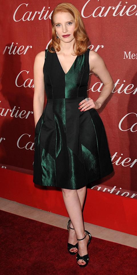 "<a href=""http://movies.yahoo.com/movie/contributor/1809669328"">Jessica Chastain</a> attends the 23rd Annual Palm Springs Film Festival awards gala on January 7,2012."