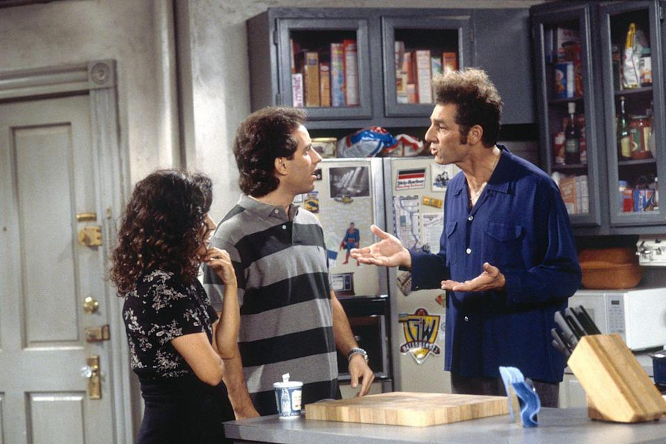 <p>The open kitchen and living room layout in Jerry's New York City apartment was the perfect space for laughter-inducing conversations between the pals. We could always count on rows of alphabetized cereal boxes and constant barge-ins by Kramer.</p>