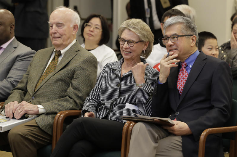 FILE - In this April 18, 2019, file photo, former Washington Governors (from left) Dan Evans, Chris Gregoire, and Gary Locke sit together before testifying in favor of Initiative 1000 before a joint Washington state House and Senate committee at the Capitol in Olympia, Wash. More than two decades after Washington voters banned affirmative action, the question of whether one's minority status should be considered as a contributing factor in state employment, contracting and admission to public colleges and universities is back on the ballot. The Nov. 5 vote comes months after the Legislature approved Initiative 1000 in April, on the final day of this year's legislative session. Opponents of the measure collected enough signatures to force a referendum, Referendum 88, and now voters will have the final say on whether I-1000 should become law. (AP Photo/Ted S. Warren, File)