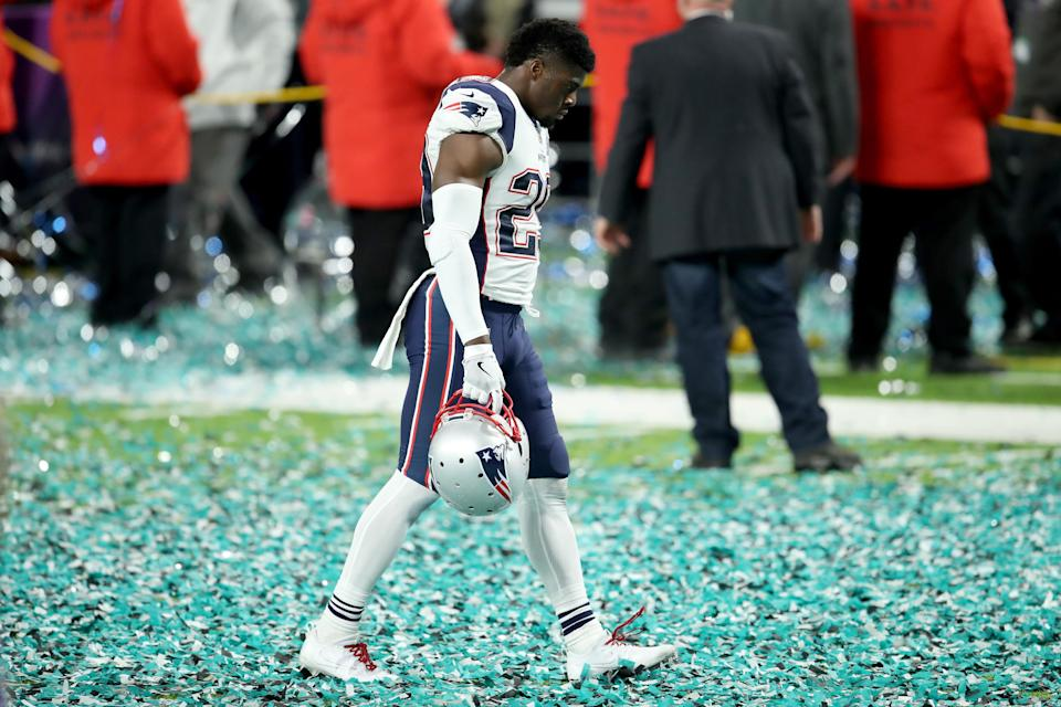 <p>Johnson Bademosi #29 of the New England Patriots reacts after losing to the Philadelphia Eagles 41-33 in Super Bowl LII at U.S. Bank Stadium on February 4, 2018 in Minneapolis, Minnesota. (Photo by Andy Lyons/Getty Images) </p>