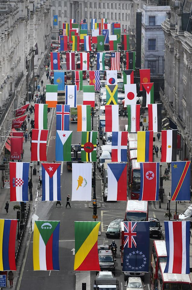 LONDON, ENGLAND - JUNE 15:  Flags of 200 nations are displayed on Regent Street on June 15, 2012 in London, England. The London 2012 Olympics will open in 42 days and London is expected to see a large influx of visitors during the games.  (Photo by Peter Macdiarmid/Getty Images)