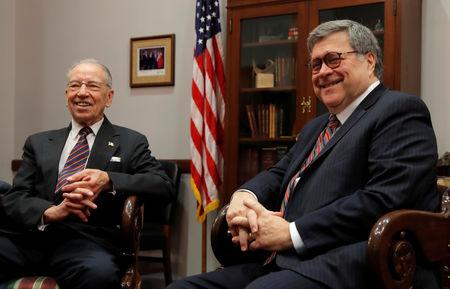 U.S. Senator Charles Grassley (R-IA) meets with U.S. Attorney General nominee William Barr on Capitol Hill in Washington, U.S., January 9, 2019. REUTERS/Jim Young