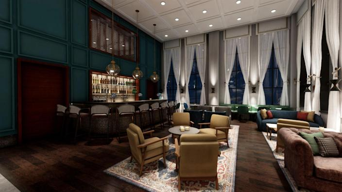 A grand bar and lounge space at The Loutrel, designed by Michael Graves.