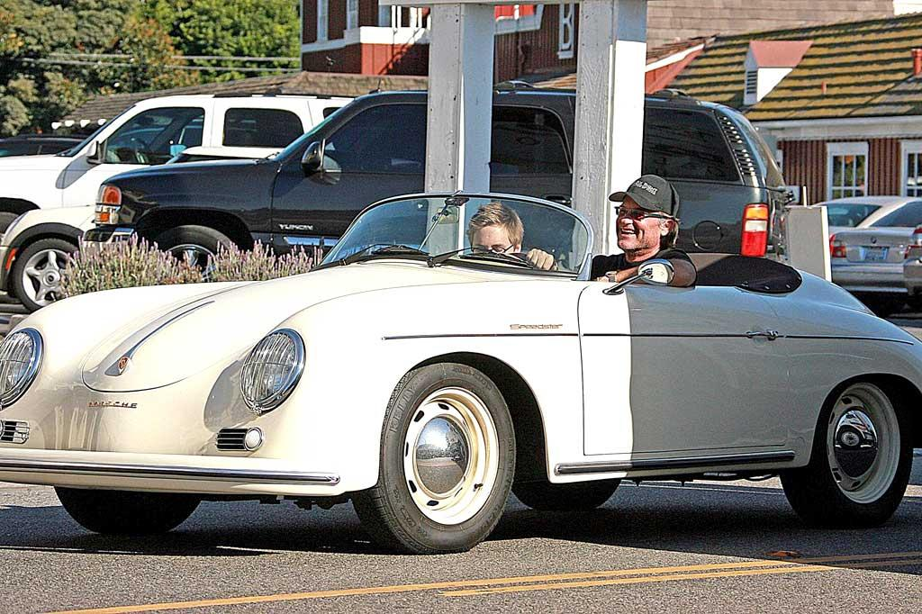 """Kurt Russell and his son Wyatt go for a spin in the actor's vintage Porsche Speedster, a classic car also driven by the likes of Rachel Zoe and """"Beverly Hills 90210's"""" Dylan McKay. Kevin Perkins/Pedro Andrade/<a href=""""http://www.pacificcoastnews.com/"""" target=""""new"""">PacificCoastNews.com</a> - October 24, 2008"""
