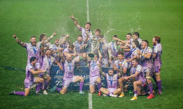 Exeter celebrate being crowned kings of European club rugby for the first time after a thrilling 31-27 Heineken Champions Cup final victory over Racing 92. The Chiefs conquered Europe in only their 10th season as a top-flight team, ultimately flooring the French heavyweights at Ashton Gate in Bristol through a combination of irresistible forward power and ruthless finishing.