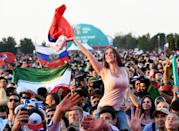<p>Supporters during the 2018 FIFA World Cup Russia group A match between Russia and Saudi Arabia at Luzhniki Stadium on June 17, 2018 in Moscow, Russia. (Photo by Claudio Villa – FIFA/FIFA via Getty Images) </p>