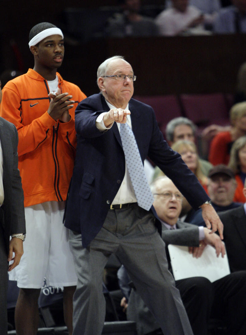 Syracuse coach Jim Boeheim  gives his team direction during the first half of an NCAA college basketball game against St. Johns at the Big East Championship, Thursday, March 10, 2011 at Madison Square Garden in New York.   (AP Photo/Mary Altaffer)