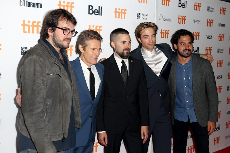 "TORONTO, ONTARIO - SEPTEMBER 07: (L-R) Rodrigo Teixeira, Willem Dafoe, Robert Eggers, Robert Pattinson and Lourenco Sant'Anna attend ""The Lighthouse"" premiere during the 2019 Toronto International Film Festival at Ryerson Theatre on September 07, 2019 in Toronto, Canada. (Photo by Tasos Katopodis/WireImage)"