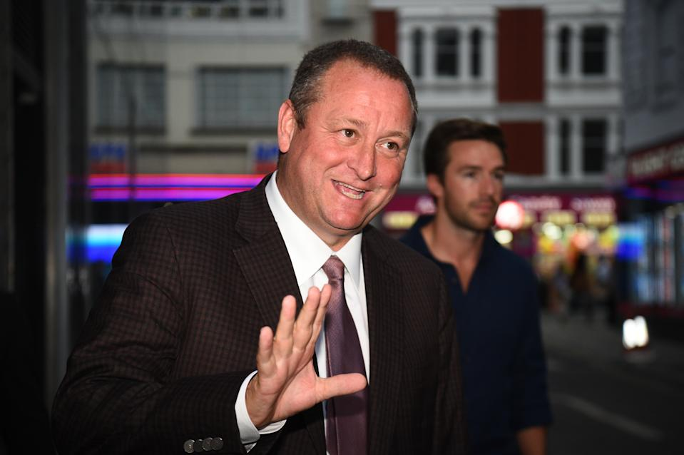 Sports Direct CEO Mike Ashley leaving the Sports Direct headquarters in London, as the company has revealed it is being pursued by authorities in Belgium over a 674 million euro (�605 million) tax bill, following a recent audit.