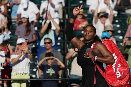 Mar 21, 2018; Key Biscayne, FL, USA; Serena Williams of the United States waves to the crowd as she leaves the court after her match against Naomi Osaka of Japan (not pictured) on day two of the Miami Open at Tennis Center at Crandon Park. Osaka won 6-3, 6-2. Mandatory Credit: Geoff Burke-USA TODAY Sports