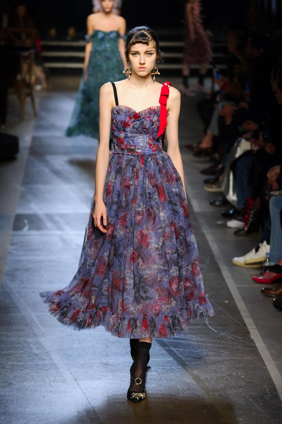 <p>Violet and red floral A-line dress from the SS18 Erdem collection. (Photo: ImaxTree) </p>