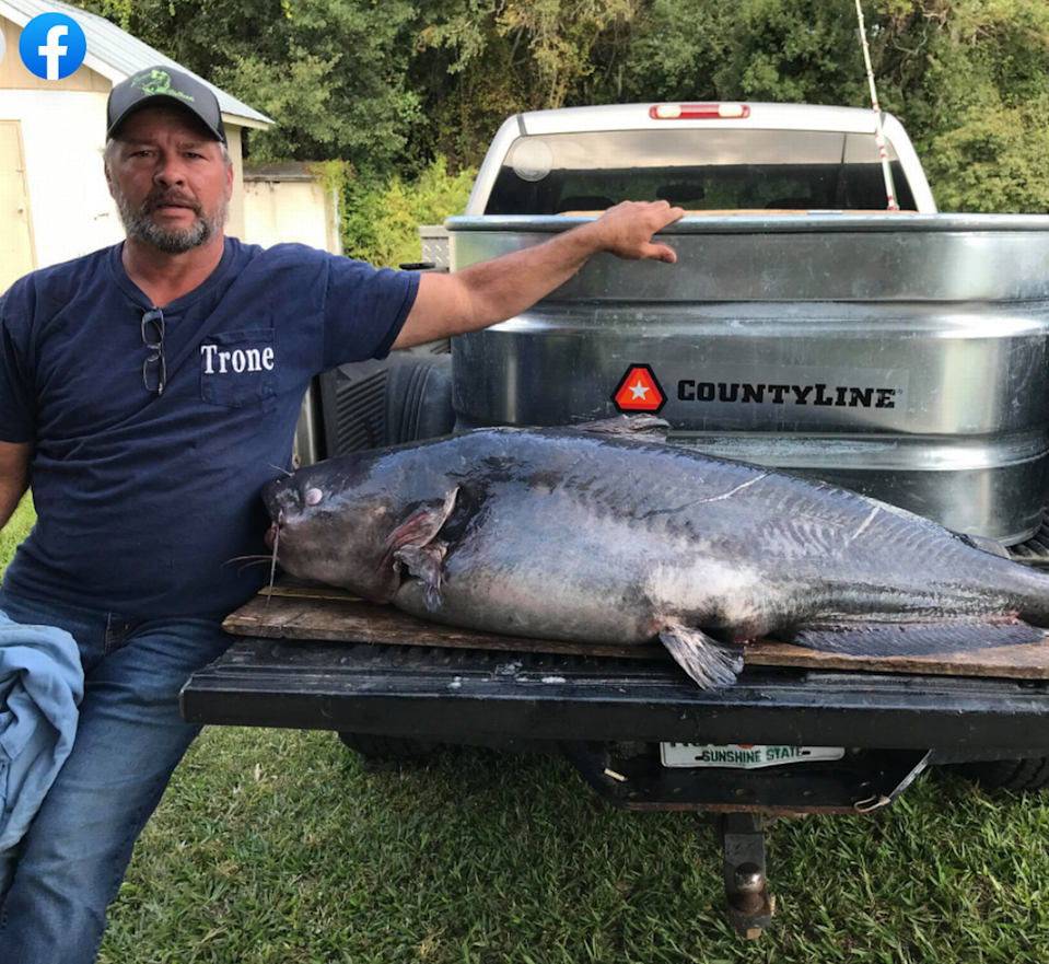 A fisherman set a new state record in Georgia when he reeled in a 110-pound 'monster' catfish, but he's also catching heat for what happened later.
