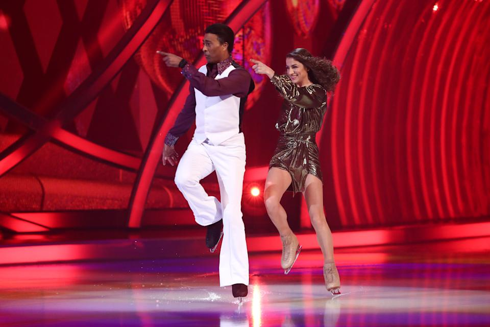 Editorial use only Mandatory Credit: Photo by Matt Frost/ITV/Shutterstock (11777383ak) Colin Jackson and Klabera Komini - Saturday Night Fever 'Dancing On Ice' TV show, Series 13, Episode 6, Hertfordshire, UK - 28 Feb 2021