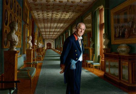 A painting by Australian born artist Ralph Heimans of Britain's Duke of Edinburgh, London