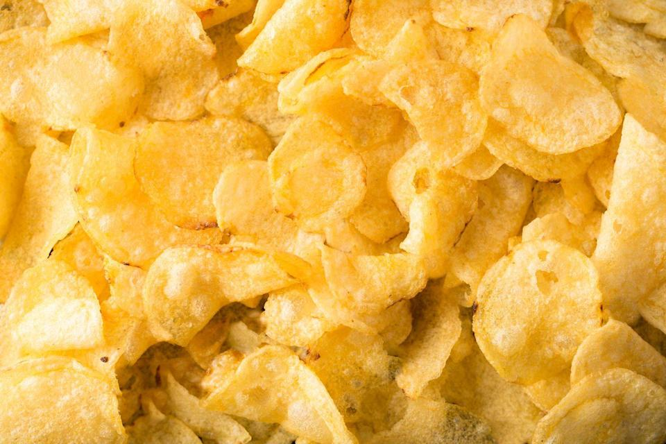 """<p>There is life before you've dredged food in <a href=""""https://www.delish.com/food/g4548/the-best-potato-chips/"""" rel=""""nofollow noopener"""" target=""""_blank"""" data-ylk=""""slk:potato chips"""" class=""""link rapid-noclick-resp"""">potato chips</a> and life after. Your life after will be exponentially better. The great thing about swapping chips in for breadcrumbs is that they're pre-seasoned. Use classic ones for a salty taste, or get wild with sour cream and onion or barbecue.</p>"""