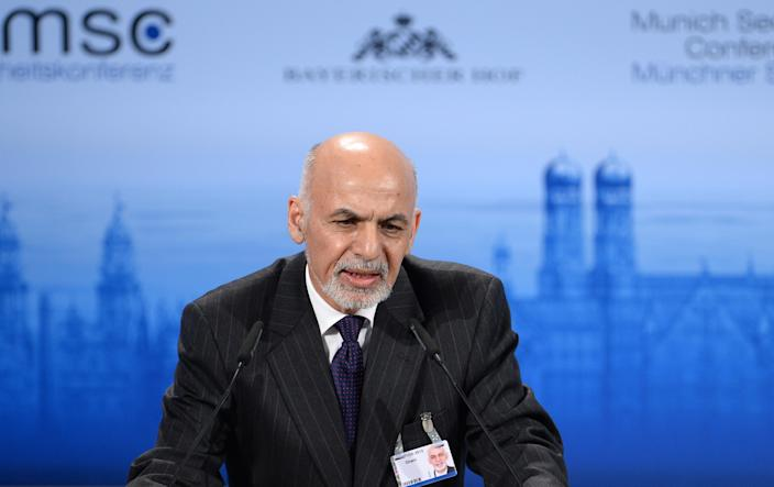Afghanistan President Mohammad Ashraf Ghani speaks during the 51st Munich Security Conference on February 8, 2015 (AFP Photo/Andreas Gebert)