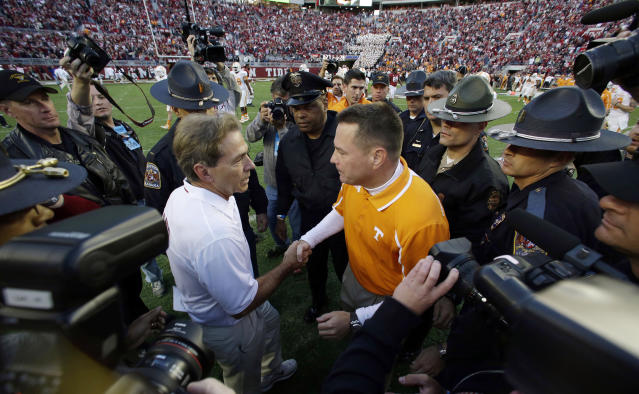 Nick Saban, (L) has lost to only two current SEC coaches: Gus Malzahn and Kevin Sumlin. (AP)