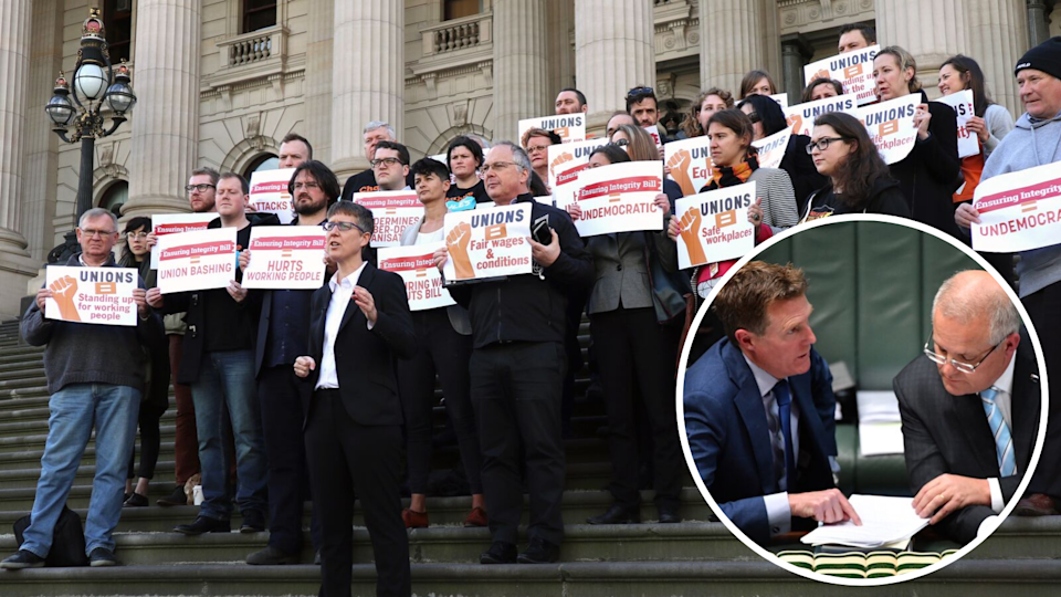 Australian Council of Trade Unions (ACTU) Secretary Sally McManus (centre) speaks during a rally at Parliament House in Melbourne on September 28, 2017. McManus is set to give evidence at a Senate committee hearing into the Fair Work (Registered Organisations) Amendment (Ensuring Integrity) Bill 2017. (AAP Image/Alex Murray). Also pictured: Minister for Industrial Relations Christian Porter and Prime Minister Scott Morrison. (AAP)