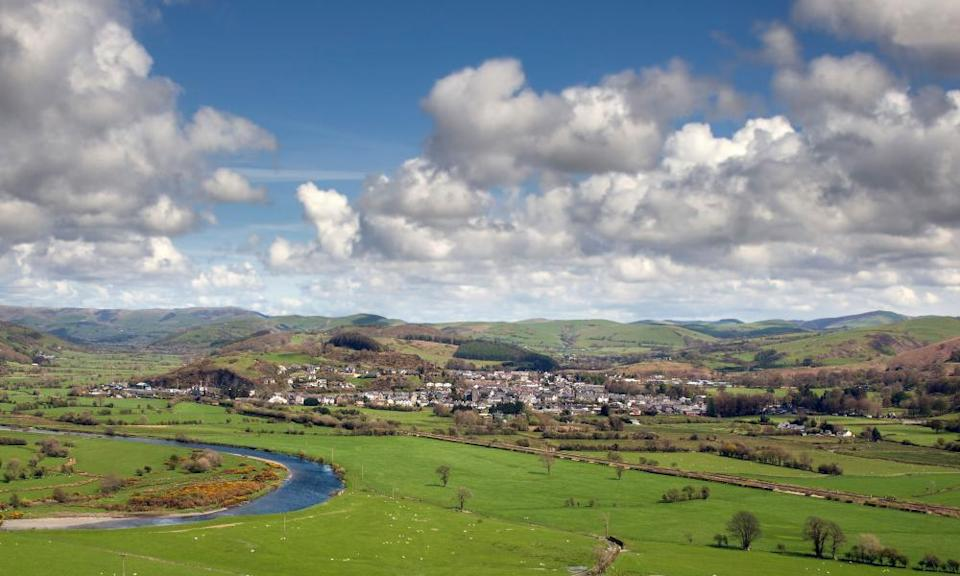 A view of Machynlleth, Powys, west of the town from the top of a 100 metre hill showing the river dovey and surrounding areas. UK.