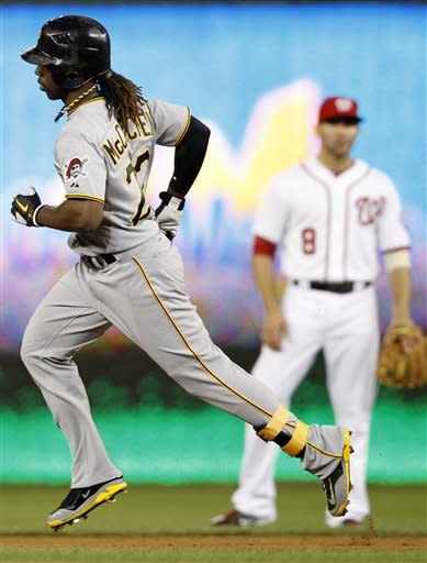 Pittsburgh Pirates' Andrew McCutchen rounds the bases after hitting his second home run of the game during the sixth inning of a baseball against the Washington Nationals, Thursday, May 17, 2012, in Washington. The Pirates won 5-3. (AP Photo/Haraz N. Ghanbari)