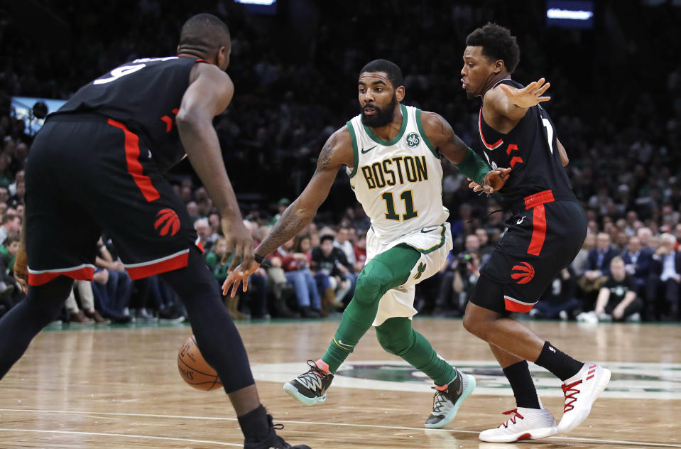 Kyrie Irving led the charge late on Wednesday night to push the Boston Celtics past the Toronto Raptors thanks to a career-high 18 assists. (AP/Charles Krupa)