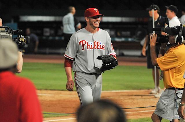 On the eighth anniversary of Roy Halladay's perfect game, his former teammate A.J. Burnett remembers his friendship with the best teammate he ever had. (Getty Images)