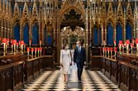 <p>William and Kate revisited Westminster Abbey in 2021, not long before their 10th wedding anniversary, and Kate's choice of a white outfit sparked memories of their wedding day. The couple were there to see how the church had been transformed into a vaccination hub. (PA Images)</p>