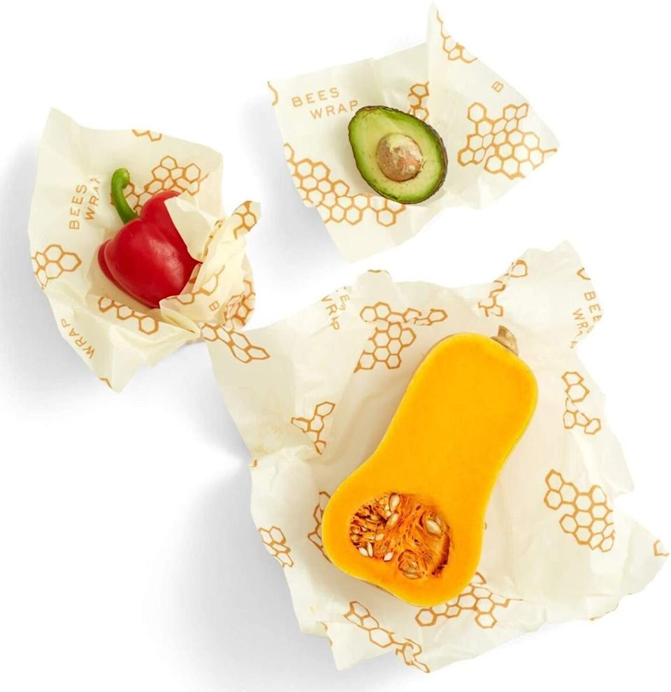 "These <a href=""https://amzn.to/36vHUPW"" target=""_blank"" rel=""noopener noreferrer"">beeswax food wraps from Bee's Wrap</a> have become a popular product for HuffPost readers, especially as they are a <a href=""https://www.huffpost.com/entry/12-sustainable-alternatives-to-paper-towels-your-kitchen-needs_n_5a6ba264e4b01fbbefb1d20f"" target=""_blank"" rel=""noopener noreferrer"">sustainable alternative</a> to plastic and paper towels in the kitchen. They're made of organic cotton that's been infused with beeswax that's been sustainably sourced, jojoba oil and tree resin. You can use it to help keep food fresh. <a href=""https://amzn.to/3of9cQw"" target=""_blank"" rel=""noopener noreferrer"">Find the set for $18 at Amazon</a>."
