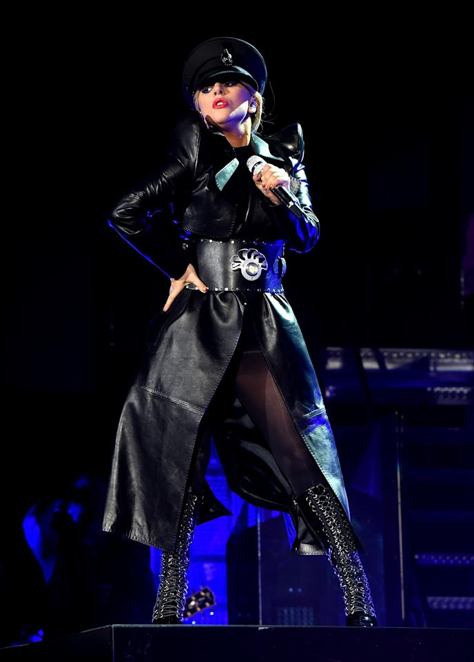 <p>Lady Gaga performs on the Coachella Stage</p>